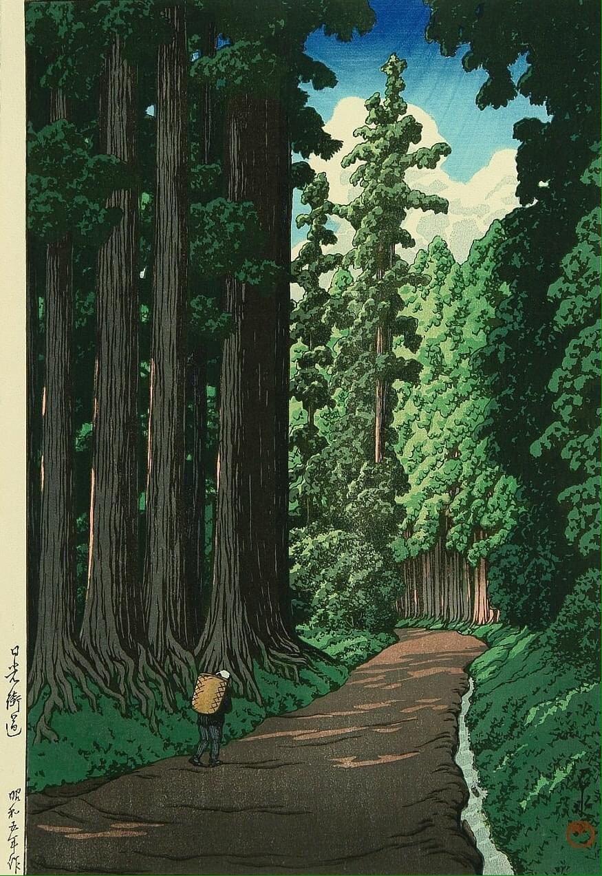 Кавасэ Хасуй (1883-1957),  «Дорога на Никко» (1930)