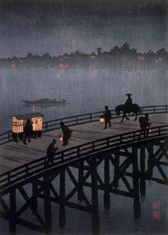 Hiroshima Koho, Night view of Ohashi Bridge (1900-1915)
