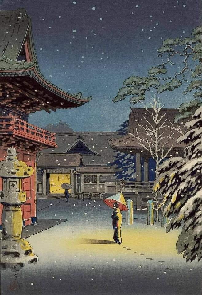 Цукия Коицу (Tsuchiya Koitsu, 1870—1949), «Женщина в снегу» (1934).