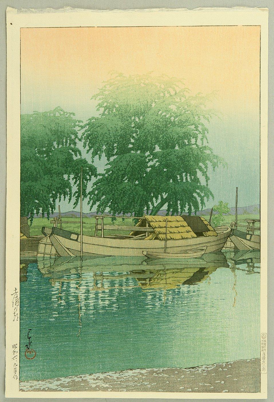 """Кавасэ Хасуй, """"Утро в Цутиуре"""" (Morning in Tsuchiura), 1931."""