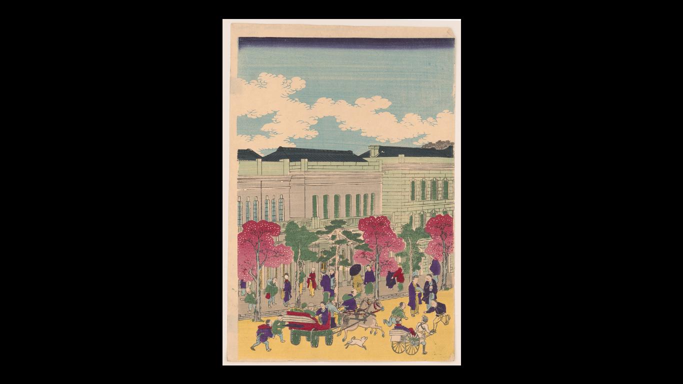 """Кунитэру Утагава, """"Улицы Токио"""" (1872)"""