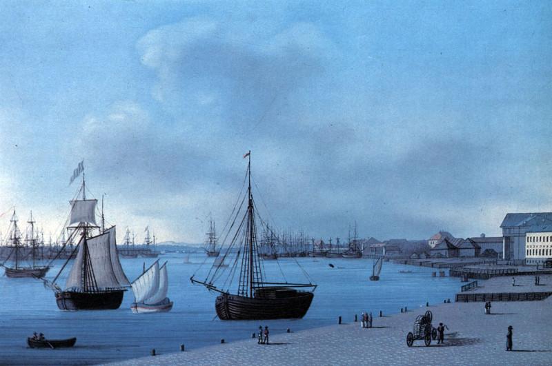 Жерар Делабарт. Вид на Неву и Финский залив. Начало XIX в. Акварель.