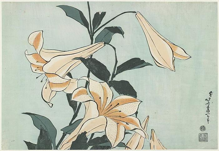 """Цветная ксилография """"Лилии"""" (с. 1832), Кацусика Хокусай."""