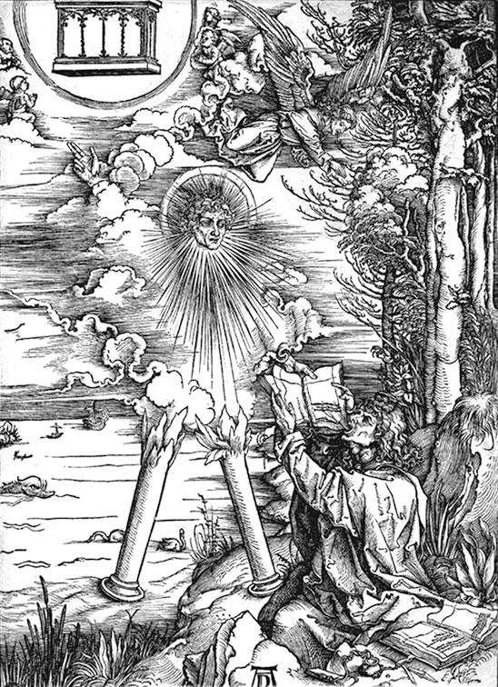 Иоанн съедает книгу. Серия гравюр «Апокалипсис». Альбрехт Дюрер.