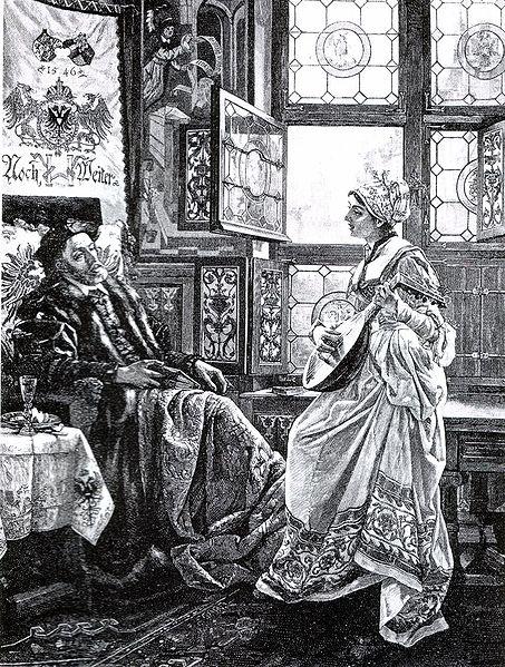 Карл V и Барбара Бломберг (ксилография, 1894)