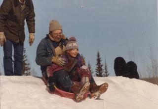 J & grandpa sledding