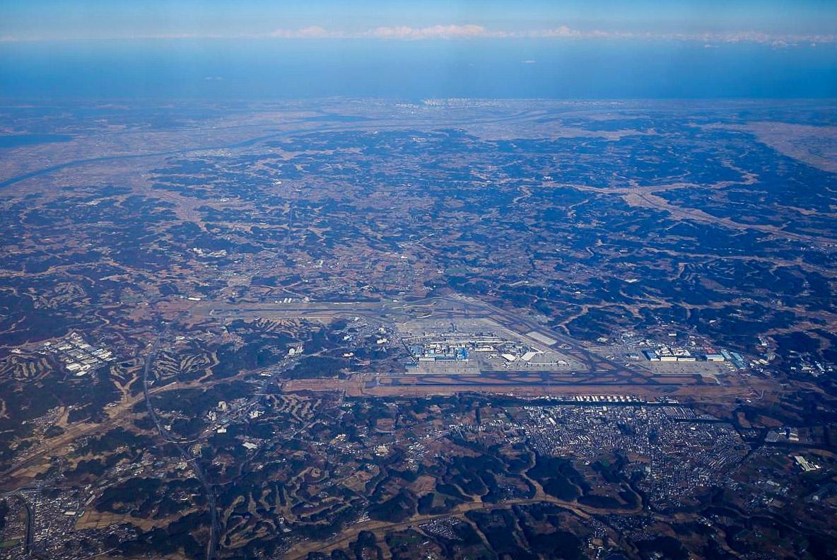 Аэропорт Нарита с высоты рейса Токио-Москва