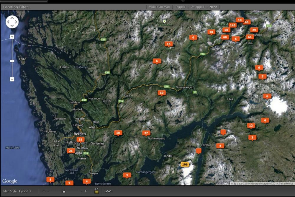 Карта передвижений по Хордаланду, Норвегия