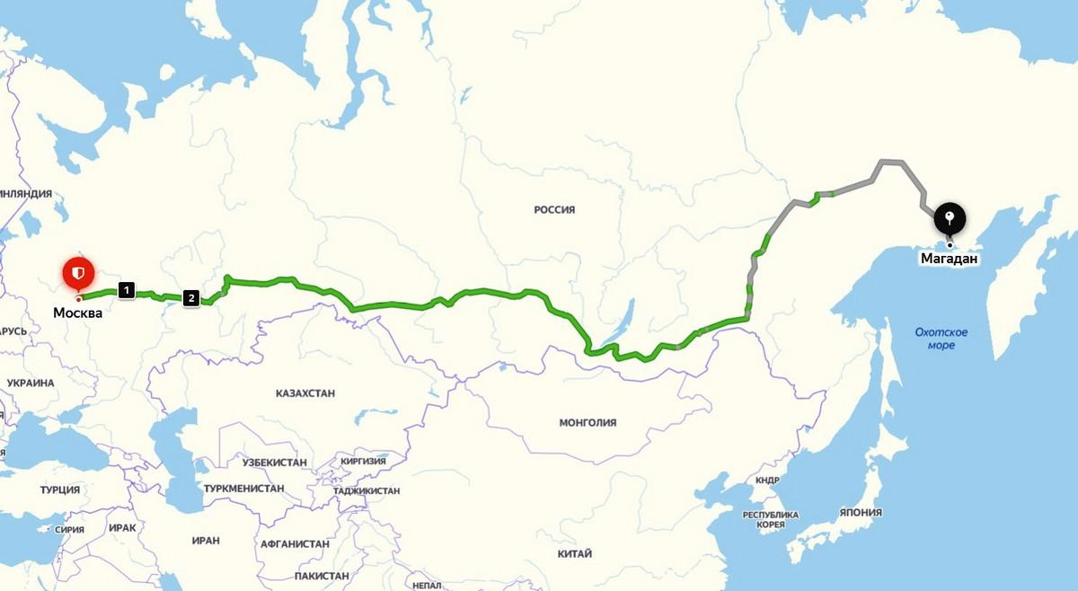 Байкал - половина пути от Магадана до Москвы. map1