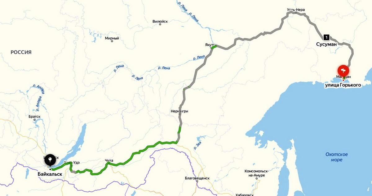 Байкал - половина пути от Магадана до Москвы. map2