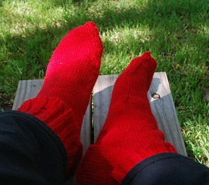 First Pair: Off the Needles and On the Feet