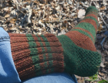 Brown-green-sock-L
