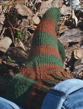 Brown-green-sock-R