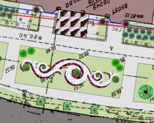 Схема предлагаемого озеленения участка напротив дома по Красному пути, 131, Омск