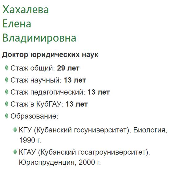 Хахлева кубанск. аграрн. универ