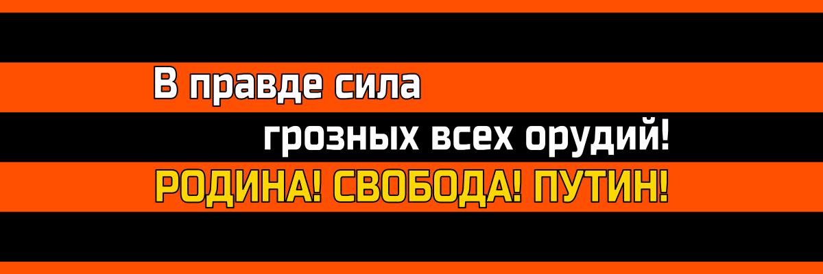 В правде - сила грозных всех орудий! Родина, свобода, Путин!