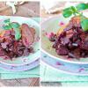 Теплый салат из свеклы и печени кролика