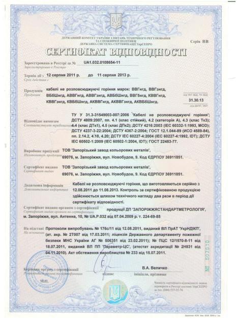 Сертификат соответствия на кабель ВВГнгд