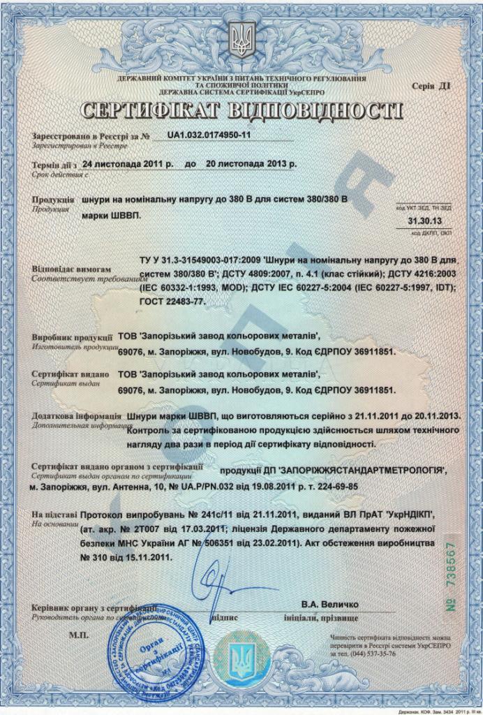 Сертификат ШВВП