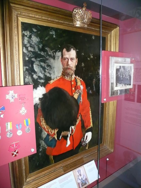 Tsar Nicholas II (Colonel in Chief of The Royal Scots Greys 1894-1918) postcard of the oil painting by Anton Alexandrovich Serov In a museum in Edinburgh Castle. https://www.travelblog.org/Photos/1430177