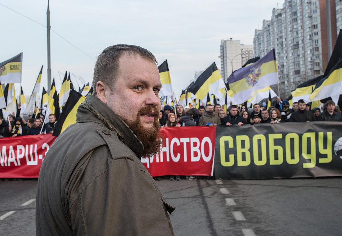 Дмитрий Демушкин во время «Русского марша», 2014 год. Фото: Илья Питалев / ТАСС