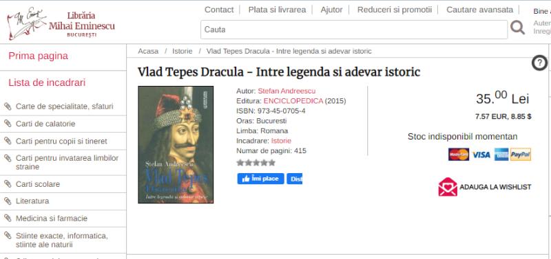 Скриншот - https://www.librariaeminescu.ro/ro/isbn/973-45-0705-4/stefan-andreescu__Vlad-Tepes-Dracula-Intre-legenda-si-adevar-istoric.html