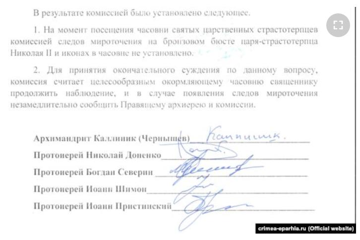 Документ из Крымской епархии. Последующее наблюдение за бюстом царя Николая ничего не дало.