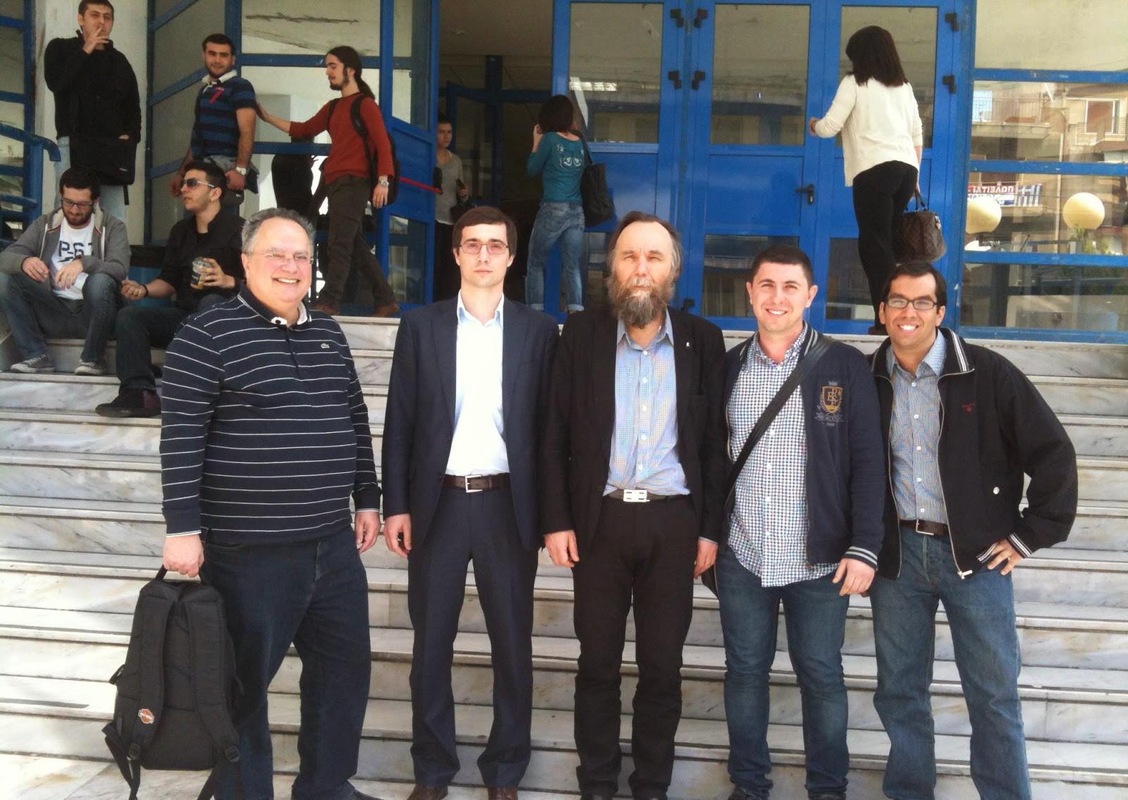 Greek Foreign Minister Nikos Kotzias (far left) and A. Dugin (center). From The Interpreter, January 28, 2015