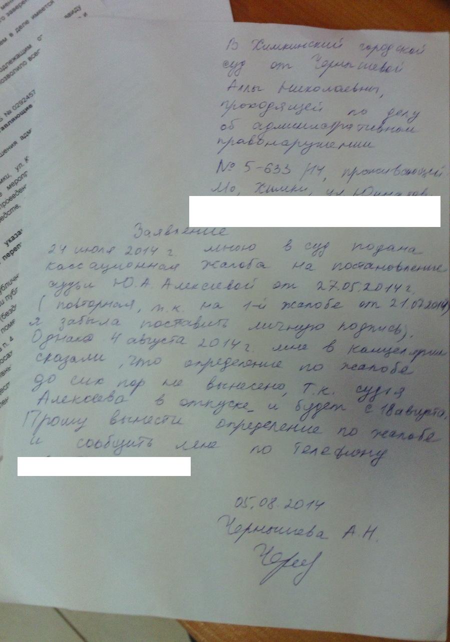 Заявление в суд от 5-08-2014 - 1 без адр