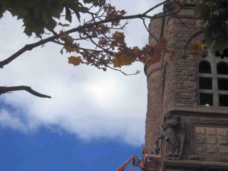 Tuckpointing and repointing, or repairing masonry, is happening this week at St. Paul's Episcopal Church on the east side of Milwaukee, Wisconsin. (Photo: Archangel Repointer, by ECP (a.k.a. Shamanic-Shift) on Flickr.com)