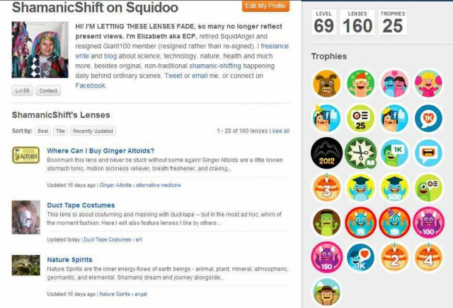 "Screengrab of ShamanicShift's (this blogger's) Squidoo profile (""credentials"") October 30, 2012"