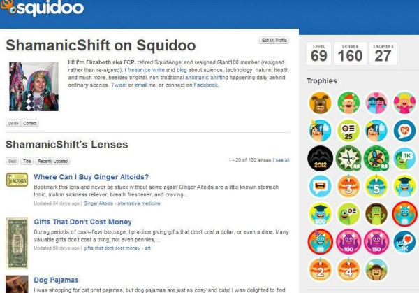 My Squidoo Profile January 2013
