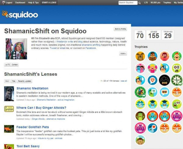 My Squidoo Profile in March 2013
