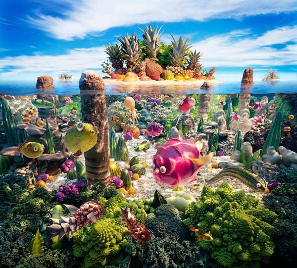 Создание одного пейзажа из еды может