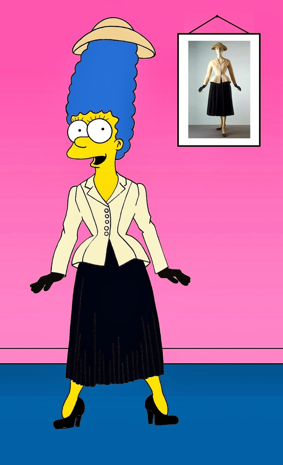 Marge Simpson Christian Dior Bar Jacket Art Cartoon Illustration Satire Sketch Fashion Luxury Style Iconic Dresses all the time The simspsons  Humor Chic by aleXsandro Palombo