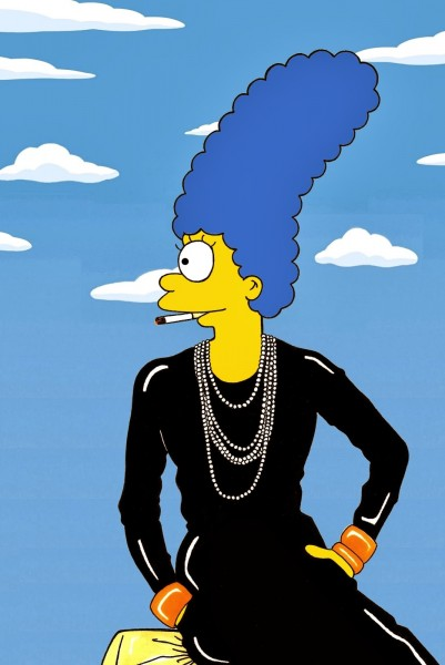Marge Simpson Coco Chanel Famous Shot Campaign Art Cartoon Illustration Satire Sketch Fashion Luxury Style Iconic Shot Dresses all the time The simspsons  Humor Chic by aleXsandro Palomb