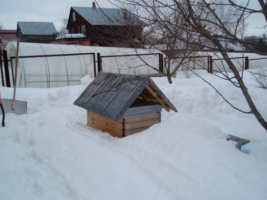 Улей-лежак за сараем торчит из снега
