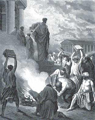 В 35 году Ефесяне сжигают книги по чародейству после проповеди апостола Павла