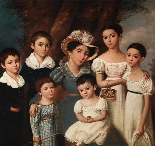 017_Неизвестный художник первой трети 19 века   Портрет Екатерины Ивановны Новосильцевой с детьми. 1830