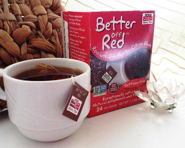 Now Foods, Real Tea, Better Off Red, Красный чай ройбуш с нотами ванили и цитруса без кофеина