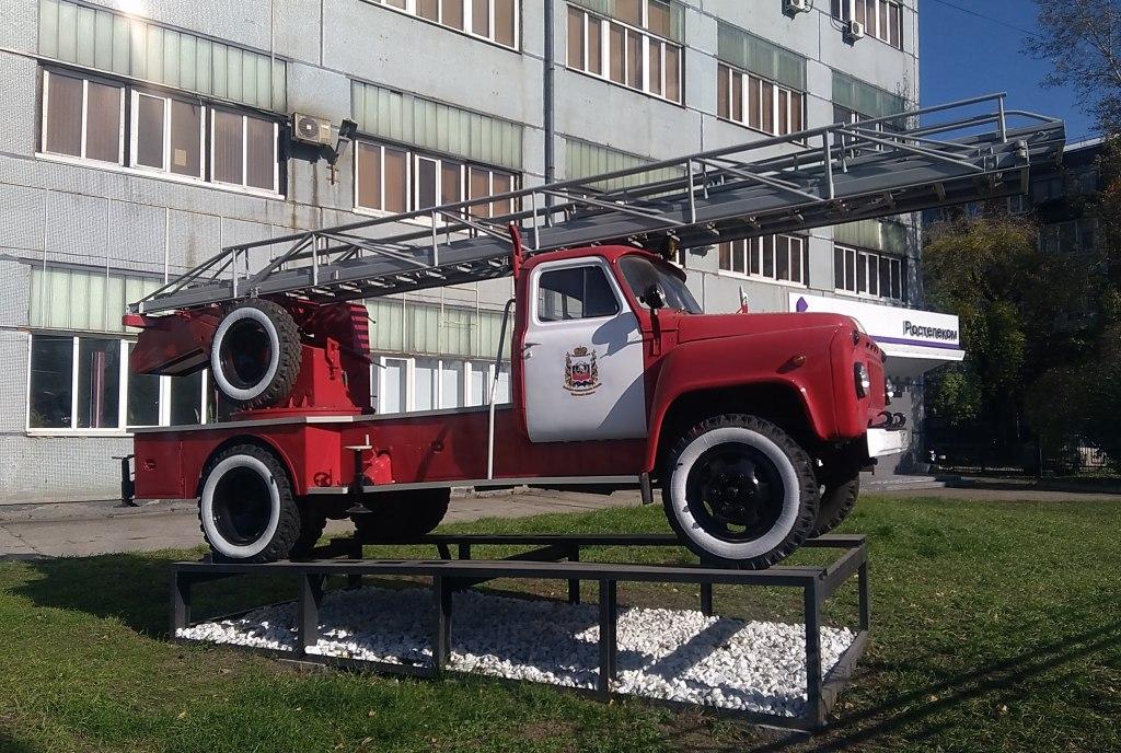 Автолестница АЛ-18 на базе ГАЗ-53 / 52-07 в Иркутске на ул. Карла Либкнехта, 61 Иркутская область,пожарные,ГАЗ