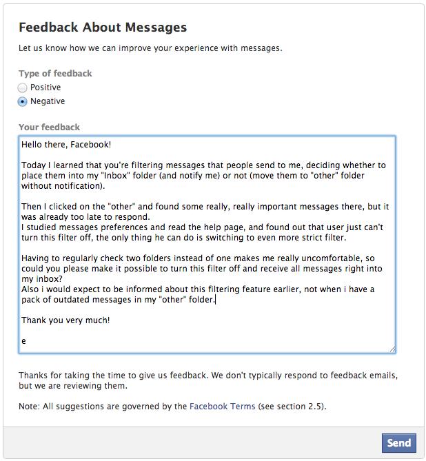 Feedback text facebook