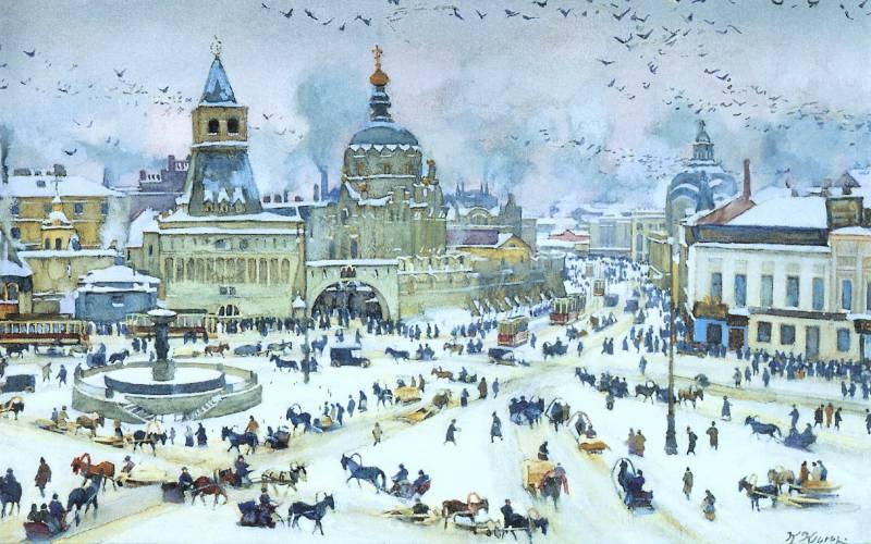 Юон 1905-lubyanskaya-ploshad-zimoi.-b.-akv.-belila.-47.2x57.-gtg-artfond