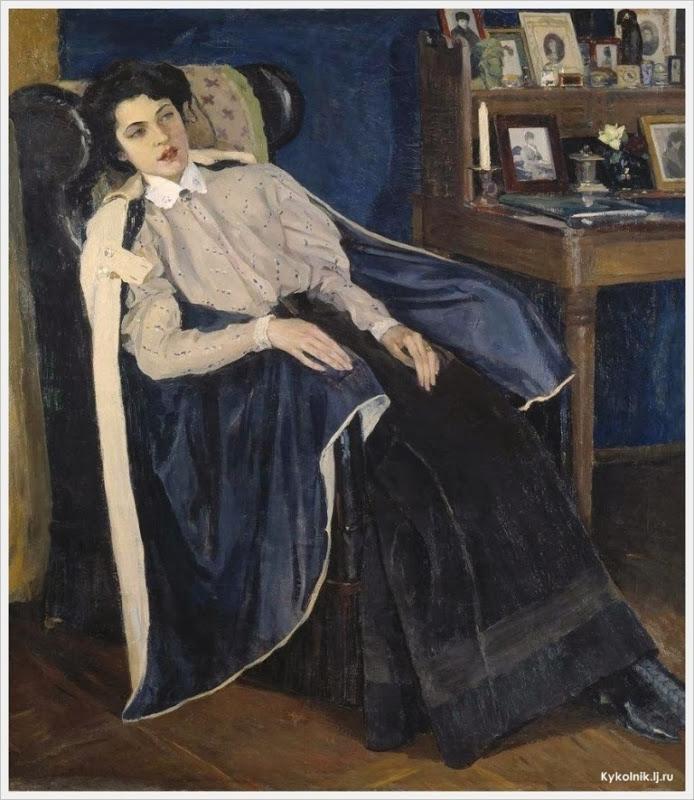 Нестеров Михаил Васильевич Портрет Ольги Михайловны Нестеровой (1886-1973) дочери художника 1905