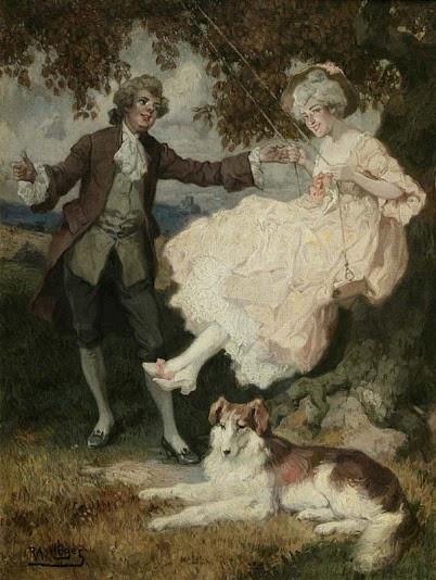 хогRokoko-Paar mit Hund