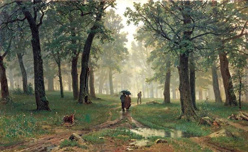 зонт.шишкин.дождь в дуб.лесу