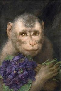 обезьяна с букетом