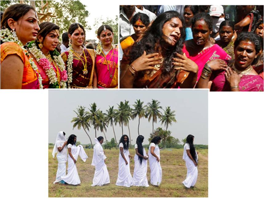 Три стадии хиджр в образе Мохини:  невесты Аравана, скорбящие о его смерти, облаченные в белую траурную одежду