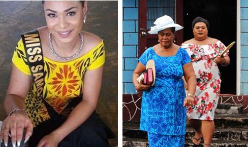 Слева - Победительница конкурса красоты среди фаафафине. Справа - фаафафине и её мать (в шляпе) идут на воскресную службу в церковь
