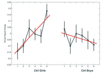 Рис.1. Паттерн активации при 6-кратном введении АД у контрольных подростков женского пола (Ctrl Girls) и мужского пола (Ctrl Boys)